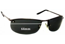 Unknown Rimless Design Replacement Sunglass Lenses - 64mm wide