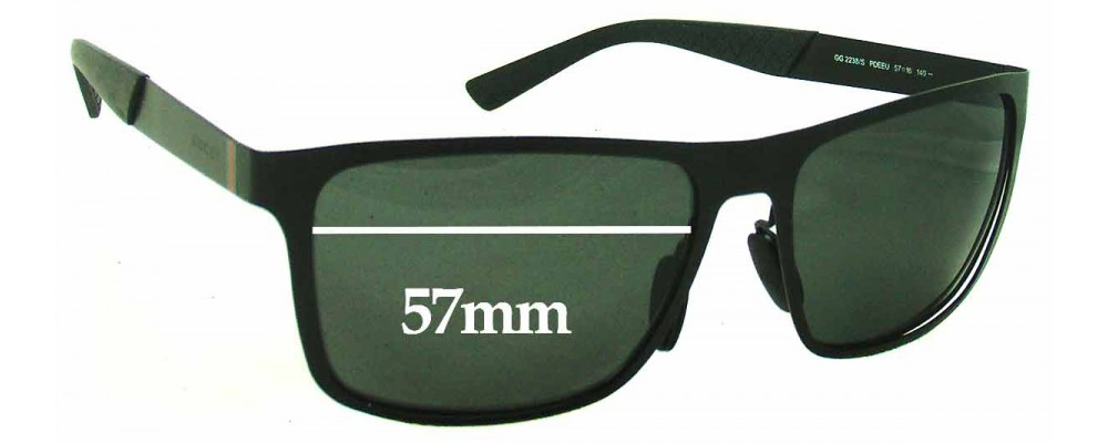 Gucci GG2238/S Replacement Sunglass Lenses - 57mm Wide