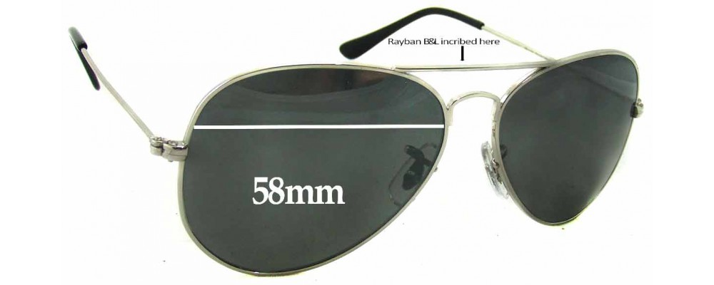Sunglass Fix Replacement Lenses for Ray Ban RB1103 Bausch Lomb - 58mm Wide