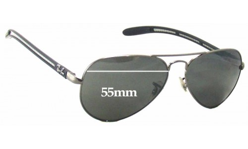 Sunglass Fix Replacement Lenses for Ray Ban Aviator Tech RB8307 - 55mm Wide