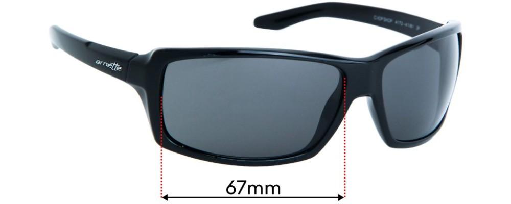 Sunglass Fix Replacement Lenses for Arnette Chop Shop AN4172  - 67mm wide