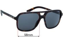 Dolce & Gabbana DG4354 Replacement Sunglass Lenses - 58mm wide