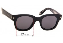 Givenchy GV 7037/S Replacement Sunglass Lenses - 47mm wide