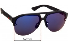 Sunglass Fix Replacement Lenses for Gucci GG 0170/S - 59mm wide