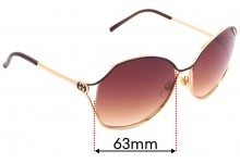 Sunglass Fix Replacement Lenses for Gucci GG 2846/S - 63mm wide