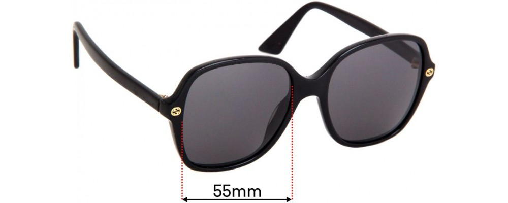 Sunglass Fix Replacement Lenses for Gucci GG 0092/S - 55mm wide