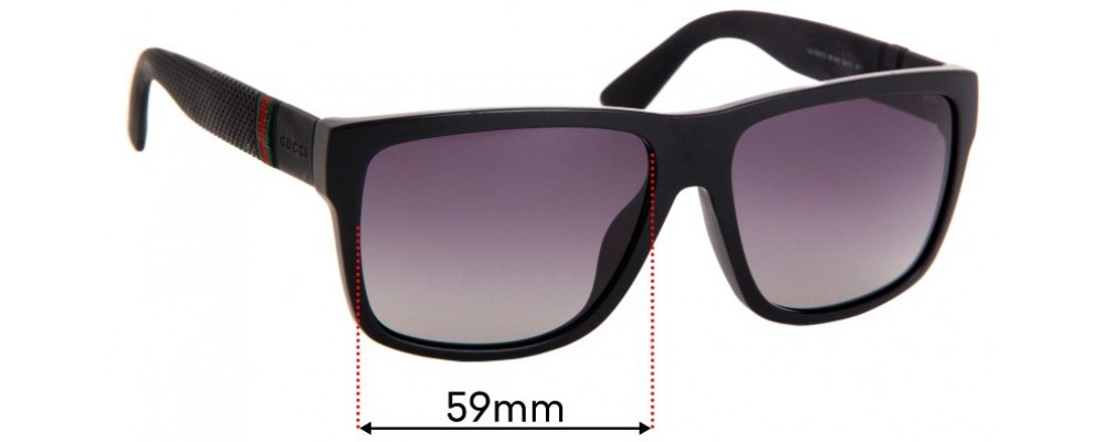 Gucci GG1124/F/S Replacement Sunglass Lenses - 59mm Wide