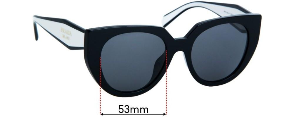 Sunglass Fix Replacement Lenses for Prada SPR14W-F - 53mm wide