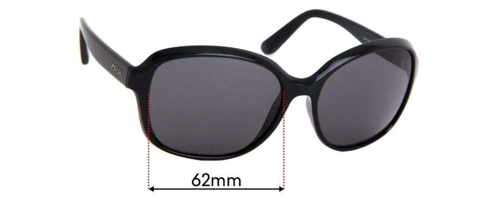Sunglass Fix Replacement Lenses for Prada SPR18Q  - 62mm Wide