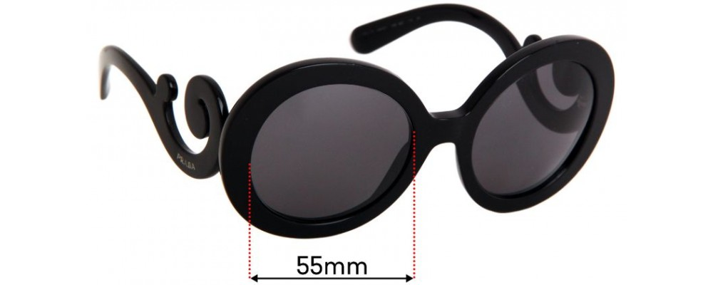 Sunglass Fix Replacement Lenses for Prada SPR27N - 55mm wide