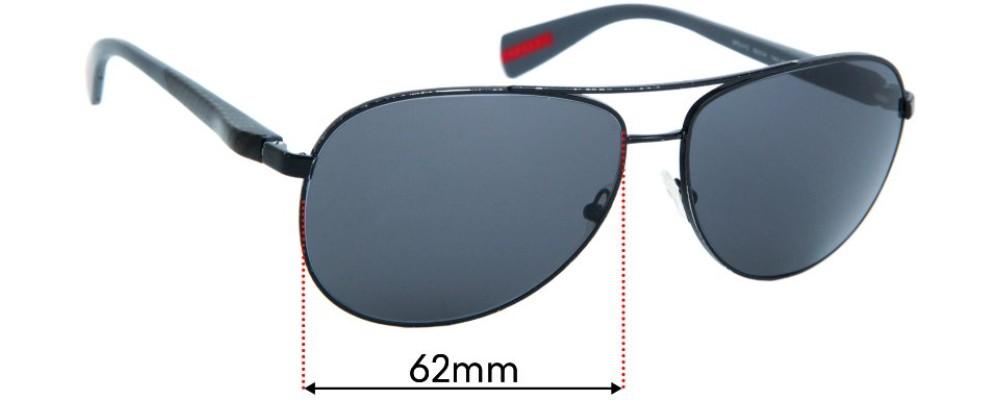 Sunglass Fix Replacement Lenses for Prada SPS51O  - 62mm wide