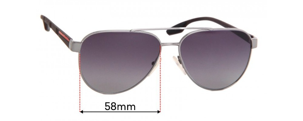 Sunglass Fix Replacement Lenses for Prada SPS54T - 58mm Wide