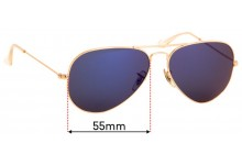 Ray Ban Aviators RB3025 Replacement Sunglass Lenses Large Metal 55mm across