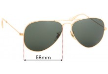 Ray Ban Aviators Large Metal RB3025 Replacement Sunglass Lenses - 58mm Wide
