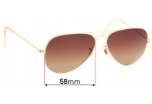 Replacement Sunglass Lenses Ray Ban Aviators L RB3025 - 58mm Wide