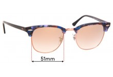 Ray Ban RB3016 Clubmaster Replacement Sunglass Lenses - 51mm Wide