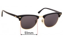 Ray Ban WO365 RB3016 Clubmaster Replacement Sunglass Lenses - 51mm Wide