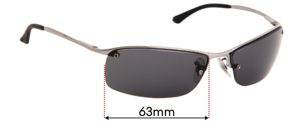 Sunglass Fix Replacement Lenses for Ray Ban RB3183 Top Bar - 63mm wide
