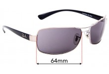 Ray Ban RB3379 Replacement Sunglass Lenses - 64mm wide