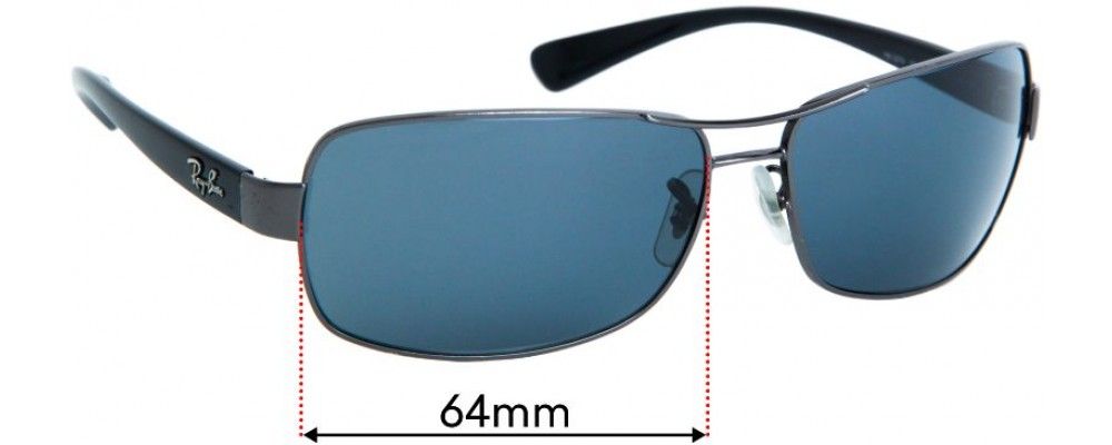 Sunglass Fix Replacement Lenses for Ray Ban RB3379  - 64mm wide