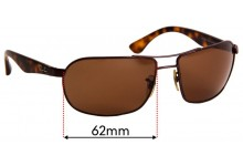 Ray Ban RB3492 Replacement Sunglass Lenses - 62mm wide