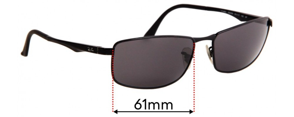 Ray Ban RB3498 Replacement Sunglass Lenses - 61mm Wide