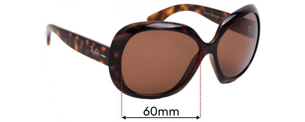 Ray Ban Jackie Ohh II RB4098 Replacement Sunglass Lenses - 60mm Wide lenses