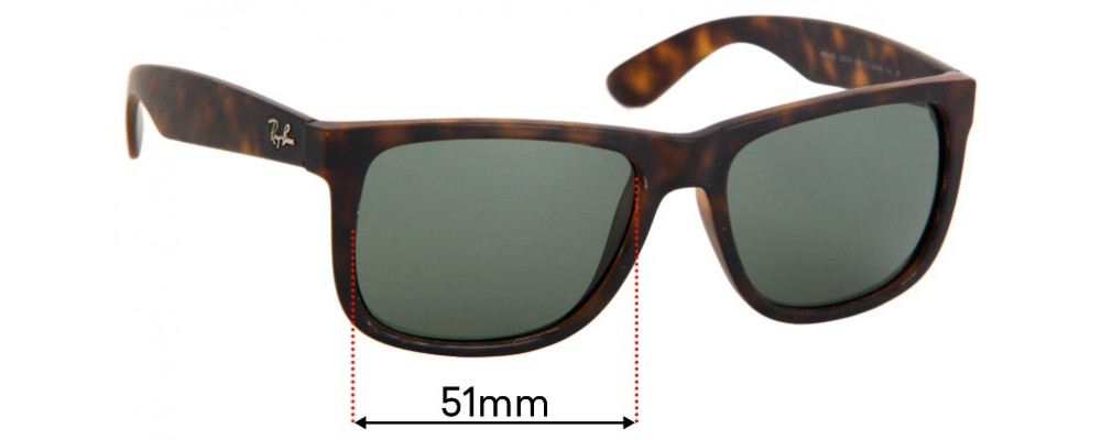 Ray Ban RB4165 Justin Replacement Sunglass Lenses - 51mm Wide