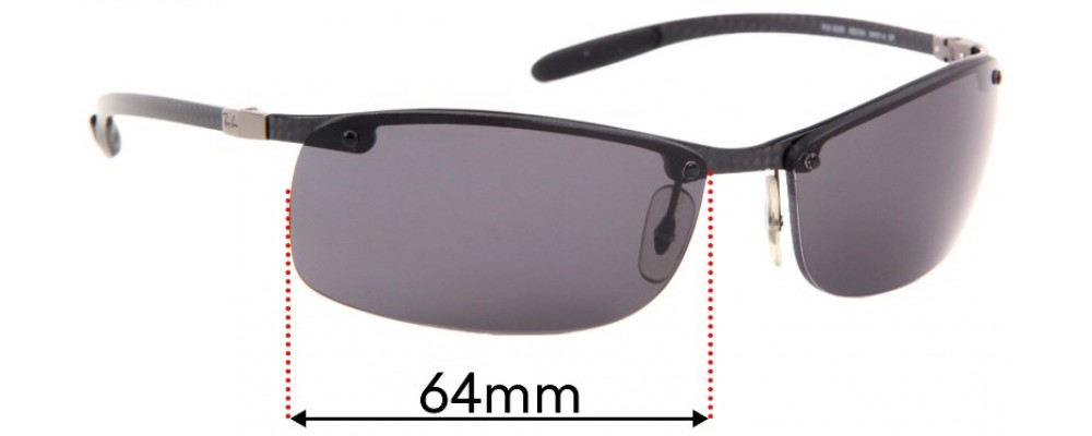 Ray Ban Tech RB8305 Replacement Sunglass Lenses - 64mm Wide - Professional Install Recommended
