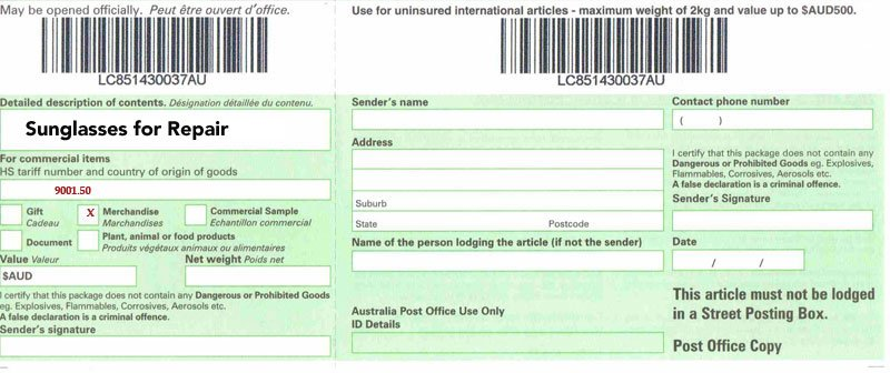 cn22 example for customers mailing in sunglasses from outside australia